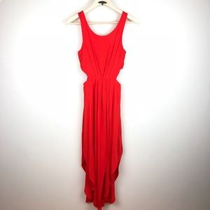 Lush Orange Red Side Cut Out Dress Size Small